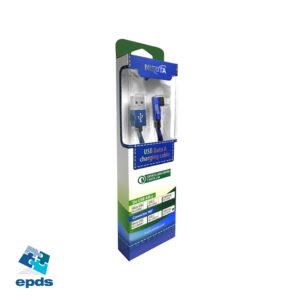 Cable USB Iphone de 1m de 2.4A con conector a 90° y malla de tela