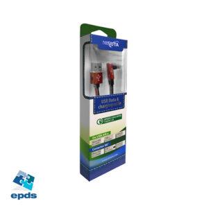 Cable USB C de 1m de 2.4A con conector a 90° y malla de tela